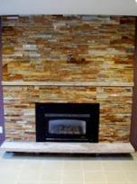 Multi Gold Ledger Stone Fireplace